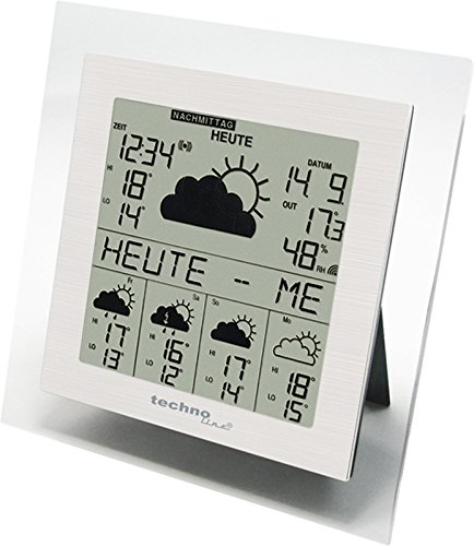Technoline WD 9245 satellitengestützte Wetterstation mit Innen/Außentemperaturanzeige, zuverlässiger Wettervorhersage für 5 Tage, mit Strmwarnung, transparenter Rahmen, 18,4 x 3,4 x 18,4 cm