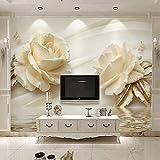 3D Wallpaper Moderne Kreative Weiße Rose Blumen Wandverkleidung Wandmalerei Wohnzimmer Schlafzimmer Hintergrund Wohnkultur Wandtuch,(W)430X (H)300Cm