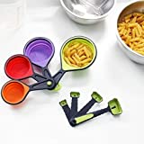 AADYA 8 Pieces Silicone Measuring Cup an...