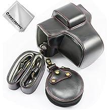 nero Qualità premium Custodia Fondina in pelle sintetica per macchine fotografiche reflex compatibile con Fuji Fujifilm X-T100 XT100 con XC15-45 mm Lens