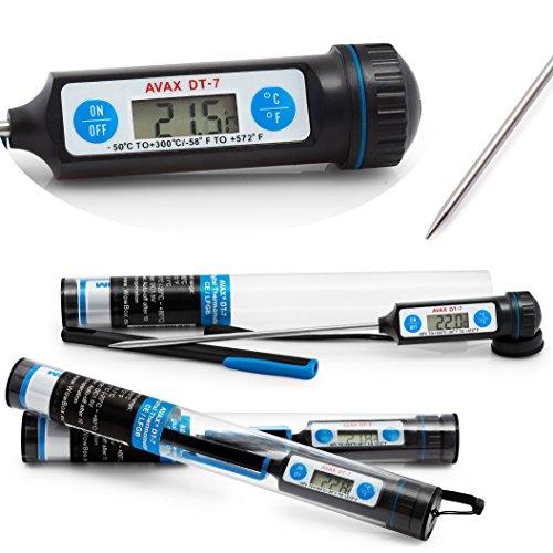 AVAX DT-7 - Digital LCD alimentaire Thermomètre Cuisine sonde de cuisson des vins, de l'Alimentation, de la viande, Steak, Turquie, BBQ, Yerba Mate, etc - Plage de température: -50 ° C à 300 ° C /-58F à 572F - (emballage du tube et une protection bouchon inclus pour une meilleure protection) - Batterie inclus Battery Included
