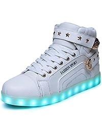 O&N LED Schuh USB Aufladen 7 Farbe Leuchtend SportSchuhe Sneakers High-Top Turnschuhe Freizeit Schuhe fuer Unisex-Erwachsene Herren Damen Kinder