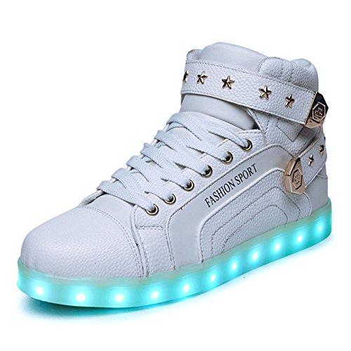 O&N LED Schuh USB Aufladen 7 Farbe Leuchtend SportSchuhe Sneakers High-Top Turnschuhe Freizeit Schuhe fuer Unisex-Erwachsene Herren Damen Kinder, Größe 35 EU, Farbe Weiß