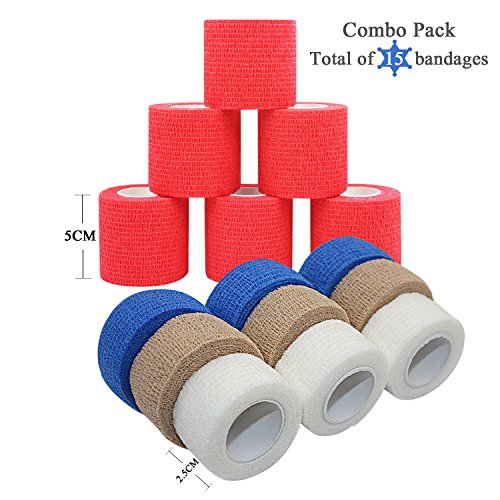 STpro 6 Rollen 5 cm Rot 9 Rollen 2.5 cm Skin Blau Weiß Cohesive Bandage Non Woven Kohäsive Elastische Fixierverband Selbsthaftender Verband Arm Finger Tapes Binde Haftbandage Erste Hilfe