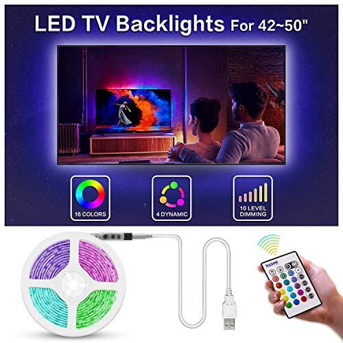BASON Led Strip,LED Streifen, USB LED TV Hintergrundbeleuchtung Fernseher, 8.33ft/254cm Led Leiste mit Fernbedienung, RGB Led Beleuchtung für 42-50 Zoll TV/Wandhalterung Cinema Dekoration Led Stripes.
