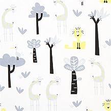 Tissu bio Copenhagen Print Factory blanc, arbres, aimaux, girafes grises