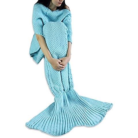 FEESHOW Manta Cola de Sirena Confortable de Crochet para Niño Adulto Sofá Cama como Bolsa Saco de Dormir Hecho a Mano