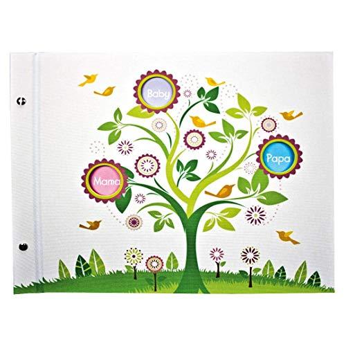Goldbuch Babyschraubalbum, Mein Stammbaum, 39 x 31 cm, 40 Seiten mit 4 illustrierten Seiten und Pergamin-Trennblättern, Erweiterbar, Leinen bedruckt, Weiß, 28054