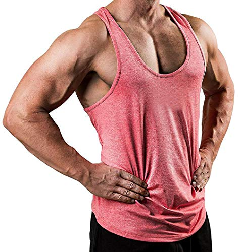 Herren Gym Muscle Weste Solid Color Low Cut Bodybuilding Tank Top Technische Stringer Lifting Fitness Übung Laufen Outfit Tops M-XXL (M, Rosa) -
