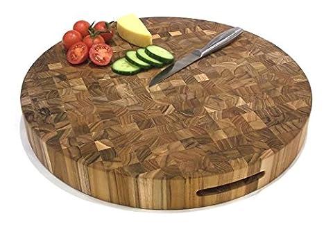 Planche à découper professionnelle en bois de bout de teck massif