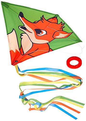 Invento 100125 - Eddy Fox Kinderdrachen Einleiner, Ab 5 Jahren, 68 x 68 cm und 2 m Drachenschwanz Ripstop-Polyester 2-5 Beaufort