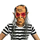 SCLMJ Halloween Erschreckende Maske Perücke, Rote Augen Geist Zahn Latex Maske