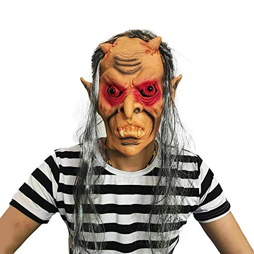hreckende Maske Perücke, Rote Augen Geist Zahn Latex Maske ()