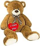 Brubaker Riesiger XXL Teddybär 150 cm groß Braun mit Einem 'I Love You' Plüschherz