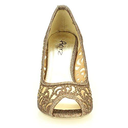 Aarz hochzeit Heel gold Schwarz schuh party größe sandelholz dame Braun Silber Braun High Toe abend Frauen Prom Champagner Peep Diamante rWIr4qS