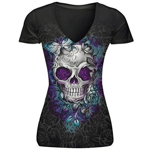 Lucky mall Damenmode kurzen Ärmeln T-Shirt, V-Ausschnitt Punk Style Skull Druck Baumwolle Tops
