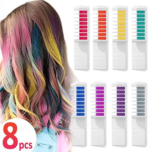 Coloración temporal Cabello Tiza peine cabello tinte cabello, Wolady 8 colores 2...