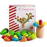 AiSi Holz Pädagogisches Bau Konstruktionsspielzeug Lernspielzeug Holzspielzeug Puzzle - 3D Kakteengewächse Kaktus Design mit Buchstaben Tolles Geschenk für Baby Kleinkind ab 2 Jahre