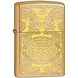 Zippo 60000370 Scroll Briquet Laiton Poussière d'Or 3,5 x 1 x 5,5 cm