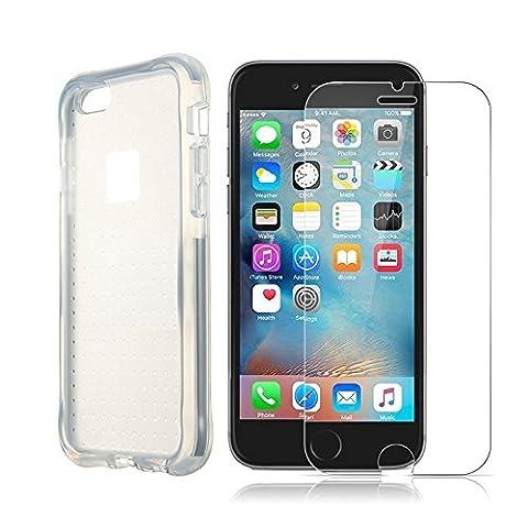 Coque iPhone 6s, Verre Trempé iPhone 6s, Foho Coque iPhone 6 / 6s Housse Etui TPU Silicone Premium Semi- transparent Coque pour iPhone 6 6S