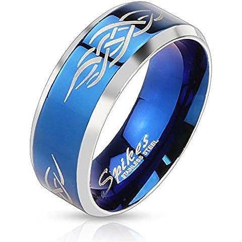 Paula & Fritz edelstahlring argento blu larghezza 8 mm Tribal linea disponibili misure anelli 60 (19) - 69 (22)
