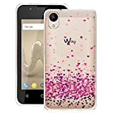 WenJie Coque pour Wiko Sunny 2 (Ne Convient Pas Wiko Sunny 2 Plus Rose Amour Transparent Ultra Slim TPU Coque de Protection Etui Silicone Gel Case Shell pour Wiko Sunny 2 (4.0')