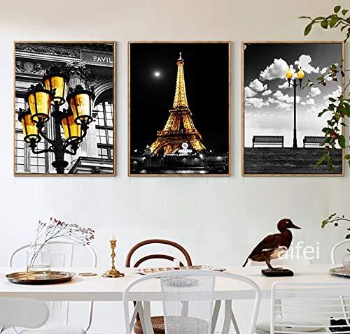 YuanMinglu Moderne Stadt Turm Serie Kunst schwarz und gelb Gold Lampe landschaftsmalerei ölgemälde Mode Dekoration Nordic Poster rahmenlose 30x40 cm