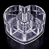 Best Deals - Heart Shape Cosmetic Organizer Makeup Display Box Acrylic Clear Cabinet Cases.