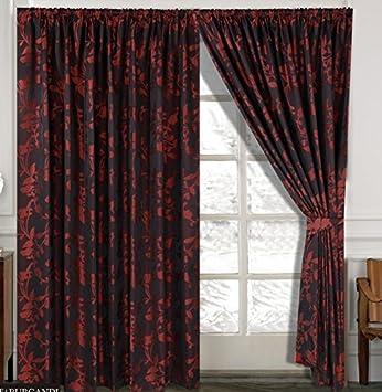 Rose Vorhang Ornament Barock Wine Rot Gardinen Mit Kruselband 2 Vorhnge 167x183cm BxH Gardine Fr Wohnzimmer Schlafzimmer 2er Set Amazonde Kche