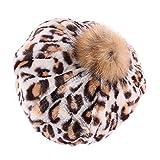 Mymyguoe Frauen warm Beanie Mädchen Winter Warm Leopard Print Hairball Berets Kürbis Hut Mütze Mode Cap Mütze mit Flecht Muster und Sehr Weichem Innenfutter Wintermütze Wollmütze Strickmuster Hut
