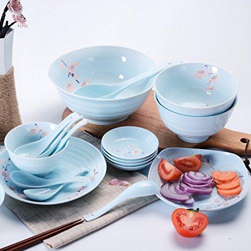 LZK Underglaze Color Platos de vajilla Japonesa Set casa Plato de arroz Ciruela Plato de cerámica Caja de Regalo,Azul,1