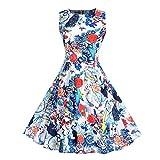 VEMOW Elegante Damen Vintage Schulterfrei O-Ausschnitt Drucken Ärmelloses Halloween Casual Party Cosplay Langes Maxi-Kleid(X1-b-Weiß, EU-38/CN-XL)