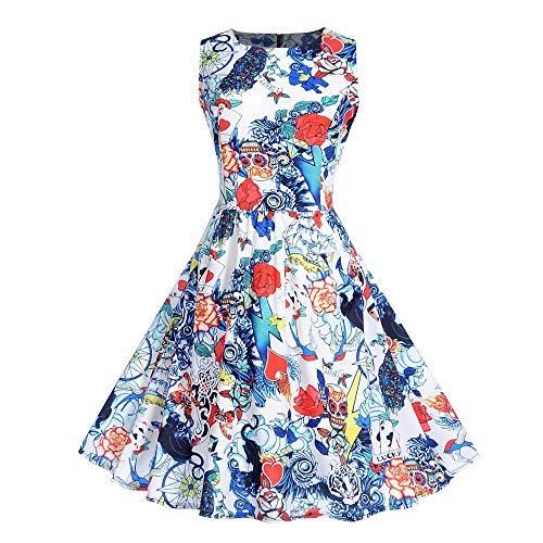 Longra Damen Halloween Kostüm Halloween Kleid Festliche Kleider Partykleider Damen 1959er Vintage Cocktailkleid Rockabilly Retro Schwingen Kleid (Kleinkind Skelett Kleid)