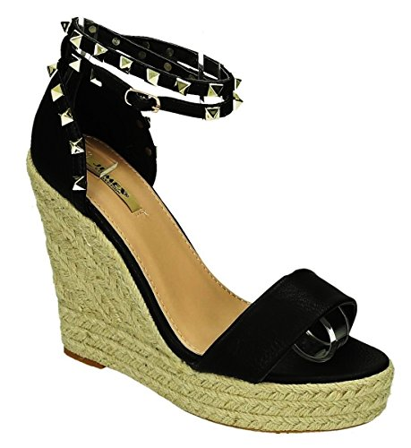 Damen Wedge Pump (King Of Shoes Bequeme Damen Riemchen Keil Sandaletten Pumps Keilabsatz Wedges High Heels Peep Toes L5 (38, Schwarz))
