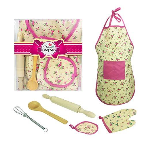 Fornateu Kinder-Chef Set Glove Knet-Stick Löffel Schürze Ei-Klopfer Kit Kinder Küchen-Backen-Gadget Gadgets Ei