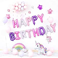 Unicorn Kids Birthday Party Multi-Color Balloons Multi-Color Letter Balloons Banquet Arrangement Balloons Family or Friends Birthday Hotel Party Decoration Background