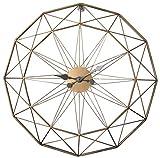 Mecotech Vintage Wanduhr, XXXL Ø 60 cm Wanduhr Vintage Design Metall Lautlos Wanduhr Große Uhr ohne Tickgeräusche für Wohnzimmer, Schlafzimmer, 23.62 Zoll, Gold