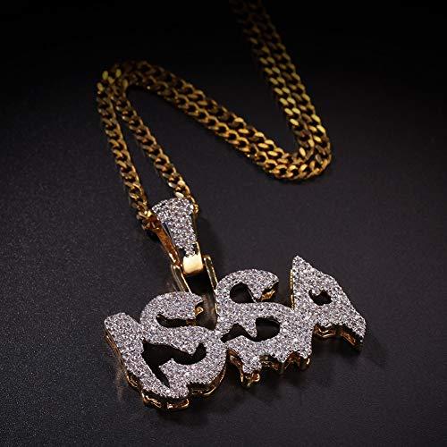 Hip Hop Micro Pave grün AAA Zirkonia Bling EIS aus ISSA Brief Anhänger Halskette für Männer Rapper Schmuck,goldencubanchain