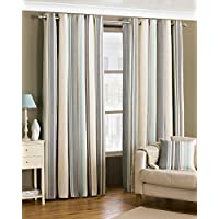 "Riva Paoletti Broadway Ringtop Eyelet Curtains (Pair) - Blue, Grey and Cream - Modern Striped Design - Ready Made - Room Darkening Design - PolyCotton - 168cm width x 229cm drop (66"" x 90"" inches)"