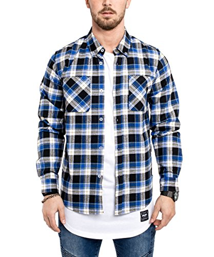 Phoenix Button Down Herren Flanell Hemd Blau Weiß Karohemd Kariert - L (Button-down-flanell)