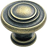 Traditional Pattern Cabinet Door Knob Handle 34mm Diameter - Antique Brass