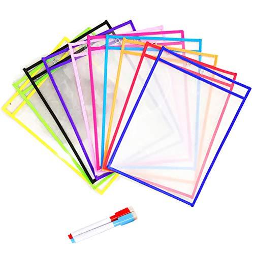 e trocken abwischbare Taschen und 2 Stifte trocken abwischbare Stifte wiederverwendbare trocken abwischbare Hüllen für Klassenzimmer Organisation, Lehrer und Schulbedarf ()