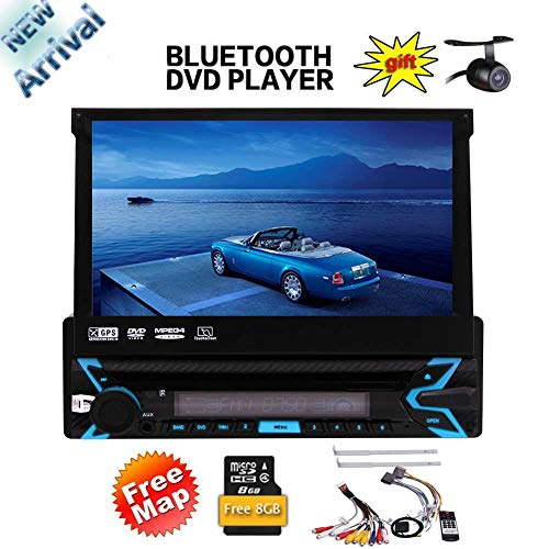 EINCAR 7-Zoll-Single 1 Din Touch Screen Head Unit Wince-System in der Schlag-Funkempfänger mit Abnehmbarer Front Panel Support AM FM-Radio Bluetooth SWC + Free Rear Camera + Free 8GB GPS-Ka -