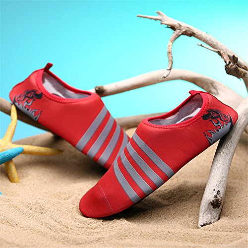 LeKuni Unisex Aquaschuhe Strandschuhe Wasserschuhe Badeschuhe schnelltrocknende Wassersport-Wasserschuhe, Barfussgefühl zum Schwimmen Barefoot Quick-dry Für Männer und Frauen Rot