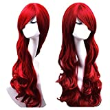 Discoball® Women's ladies dark Red long Fashion Natural Full Curl Wig Cosplay wigs