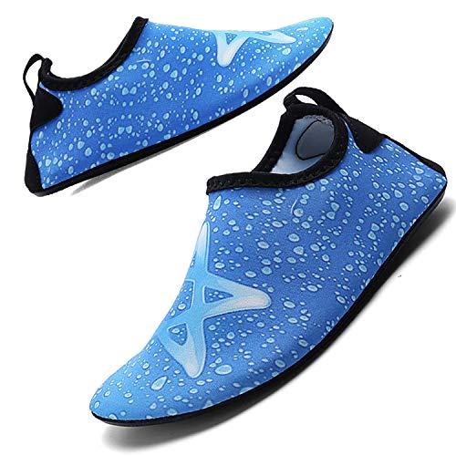 Aquaschuhe Schwimmschuhe Strandschuhe Surfschuhe für Herren Damen Slip On Breathable Wasserschuhe Jungen rutschfeste Yoga Beach Shoes, Blue 12, 30/31 EU