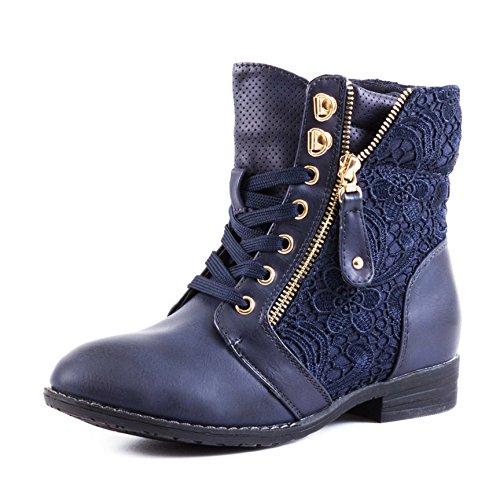 Stylische Damen Stiefeletten Worker Boots Spitze in hochwertiger Lederoptik, Dunkelblau, 43 EU