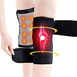 evaky 1Paar Selbst Heizung Knie Pad, Turmalin Magnettherapie Kniebandage Hosenträger für Arthritis Schmerzen Knie Massagegerät