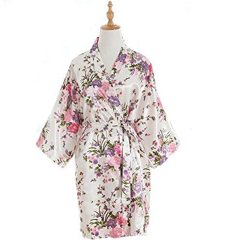 Bata Floral de Seda para Mujer, Kimono con Cuello en V, Pijama...