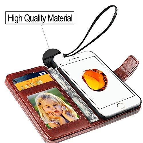 GBOS® marron Rich Leather Support Wallet Tongues Case Cover For Apple Iphone X (fabriqué spécialement - Qualité Premium) Antique Leather Case Marron